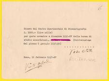 autografo su ricevuta del C.S.C. 1937 OTELLO TOSO attore, borsa di studio