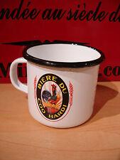 PLAQUE EMAILLEE TASSE cafe mug LOGO BIERE DU COQ HARDI BEER coffee cup enameled