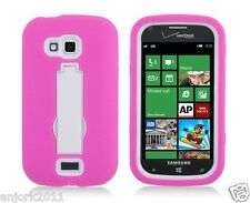 Samsung ATIV Odyssey i930 Hybrid S Armor Case Skin Cover w/ Stand Pink White