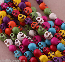 50 pcs Mixed Turquoise Skull Charms Spacers loose Beads Necklace findings 10mm
