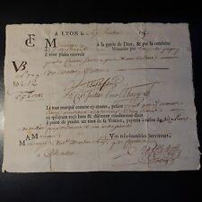 1751 LETTRE DE VOITURE DE ROULAGE TRANSPORT DE MARCHANDISE / LYON