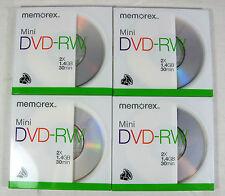 4 Memorex Mini DVD RW Discs 2X 1.4GB 30 Minutes New Sealed