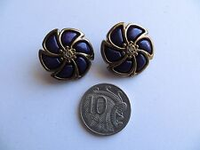 1980s Vintage Med Domed Purple Brass Flower Coat Jacket Craft Buttons-24mm