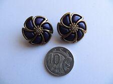 1980s Vintage Med Domed Purple Brass Flower Coat Jacket Craft Buttons-24mm