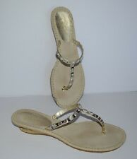 COLE HAAN GOLD LEATHER RHINESTONES/CRYSTAL FLIP FLOP SANDALS WOMEN SZ 10 M *EUC*