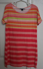 Girls GAP KIDS Pink Striped Malibu Peach T-Shirt Shirt Dress Size Medium M 8