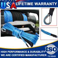 """1/4""""X 50Ft Synthetic Winch Rope Cable Lines Recovery 10000LBS ATV 4WD With Guard"""