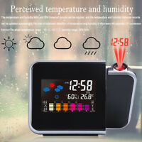 Projection Digital Weather LCD Snooze-Alarm Clock Color Display w/ LED Backlight