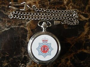 GLOUCESTERSHIRE POLICE CHROME POCKET WATCH WITH CHAIN (NEW)