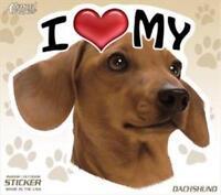 "I Love My Red Dachshund Dog 4"" Car Truck Home Vinyl Sticker Decal Pet Gift USA"