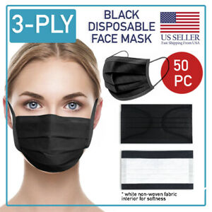 Black Disposable Face Mask 50 PCS 3-Ply Medical Surgical Ear-Loop Mouth Cover