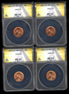 1941 Lincoln Cents ANACS  3 (MS 64) and 1942 MS 64   (4 Coins)