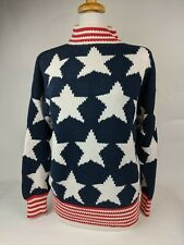Perry Ellis US Flag Election Day Sweater 100% Cotton Mockneck Stars & Stripes Sm