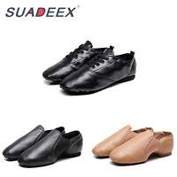 Womens Jazz Dance Shoe Leather Upper Slip on Split Irish Ballet leotard Sole UK