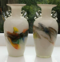 Vintage 1960s Pair Art Glass Vases 20 Cm. White