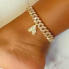 Letter Anklet for Women Hip Hop Cuban 12mm Diy Initial Cuban Link Chain Iced Out
