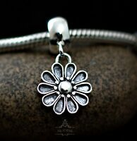 Genuine SOLID 925 Sterling silver dangle charm bead daisy flower fits bracelet