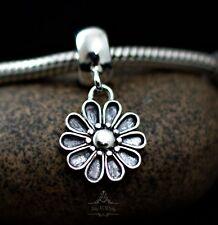 Genuine SOLID 925 Sterling silver dangle charm bead daisy flower fits bracelet