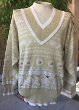 ESCADA WOMENS SZ 36  WHITE~GOLD COTTON BLEND EMBELLISHED SWEATER EXCELLENT