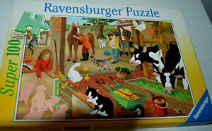 RAVENSBURGER Kids PUZZLE Super 100 piece Everyday Life in the STABLE FARM VGC