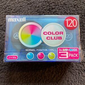 MAXELL Color Club 120 3-pack Cassette tape, Japan, Type I, normal bias
