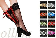 LADIES LACE KNEE HIGH SOCKS SMALL FISHNET NET VARIOUS COLOURS WOMENS