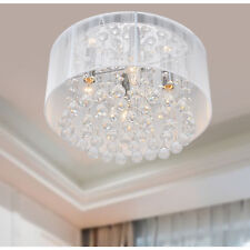 Flushmount 4-light Chrome and White Crystal Chandelier - 16 inches W x 9 inches