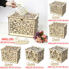 Wood Gift Case Money Box DIY Birthday Party Card Holder Container Wedding Favors