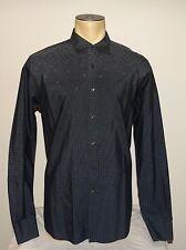 Men's PRADA gray geometric button-down dress shirt size Slim Fit 17 or 17.5 44