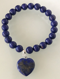 UK. Beautiful Lapis Lazuli Love Heart Crystal Gemstone 8mm bead Bracelet