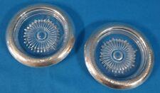 Vintage Sterling Silver & Crystal Coaster Set of 2