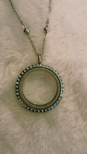 Large living memory locket turquoise stones stainless steel  ball chain USA