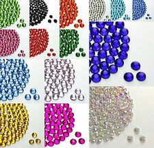 HOTFIX IRON ON GLASS RHINESTONES SIZE 2,3,4,5,6MM CLEAR / AB / VARIOUS COLOURS
