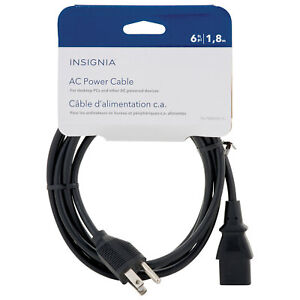 Insignia - 6' AC Power Cable - Black Model: NS-PW06501-C