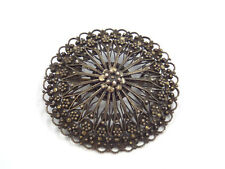 Antique 900 Silver Lace Filigree Floral Design Round Brooch Pin, 10.9 grams