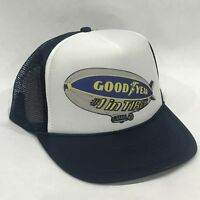 034cf435314 Good Year Tires Blimp Promo Trucker Hat Vintage 80 s Mesh Back Snapback Cap  Navy