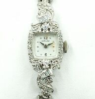 Vintage Ladies Hamilton Mechanical 14K White Gold Diamond Watch WORKING .45 CTW