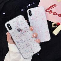 For iPhone X XS Max XR 7 8 Plus Bling Glitter Foil Soft Gel Clear TPU Case Cover