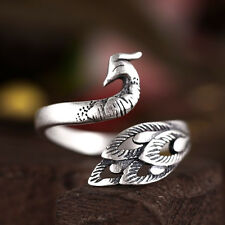 Women Fashion Wedding Rings Adjustable Ring 925 Silver Peacock Animal Rings For