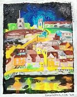 Original Acrylic painting of Whitby illuminated at night. Whitby Abbey 199 steps