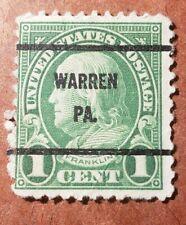 U S FRANKLIN 1 CENT OVERPRINT WARREN PA. USED STAMP