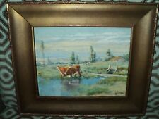 Rare Vintage Original Watercolor PAINTING by GULBRAND SETHER - Pastoral