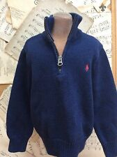 RALPH Lauren Polo NAVY SWEATER 100% Cotton Toddler Boys 2T Classic 1/2 ZIP