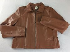 "Womens Lightweight Leather Fitted Jacket Brown Front Zip Tag Size L 38"" Bust"