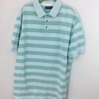 Nautica XL Men's Green Stripe Polo Shirt 100% Cotton EUC