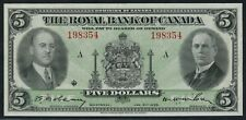 #630-18-02 $5 1935 ROYAL BANK OF CANADA MONTREAL QUEBEC ABOUT UNC CV $750 HW3350