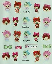Nail Art Water Decals Cute Monkey w/ Bow Candy Pop BLE1966