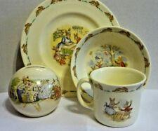 Royal Doulton China BUNNYKINS 4pc Child's Dish Plate Bowl Cup & Bank 1936
