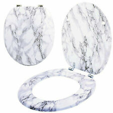 MARBLE EFFECT MDF TOILET SEAT WITH ANTI BACTERIAL COATING & CHROME PLATED HINGES