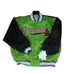Starter Atlanta Braves Jacket Coat SZ XXL Satin Bomber Black Green MLB Vintage